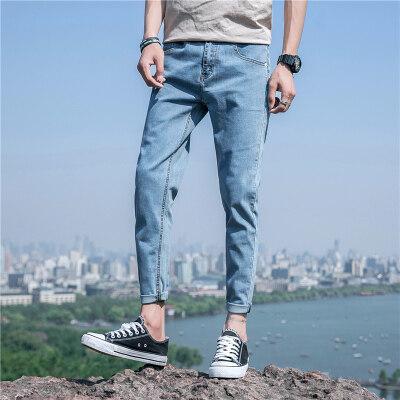 九分修身浅色牛仔裤男宽松潮牌韩版帅气男生裤子潮流夏季小脚百搭