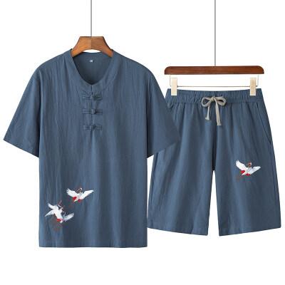 中国风短袖套装潮流唐装男士大码国潮刺绣居士服古装两件套汉服男