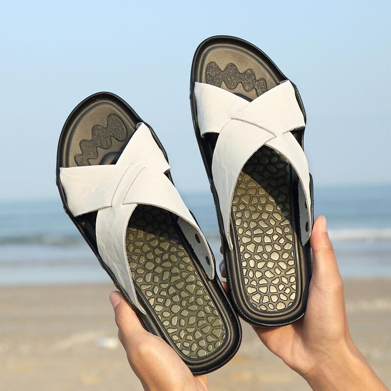 1706顺盛 真皮拖鞋男外穿一字拖凉鞋男休闲沙滩鞋百搭潮流凉拖鞋