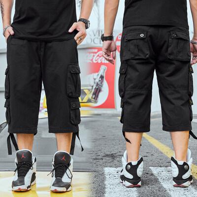 大码男装夏季黑色工装休闲七分裤耐磨加肥加大多袋潮胖子宽松中裤
