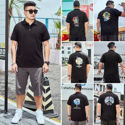 夏季男装大码Polo短袖衬衫加肥加大休闲百搭中国风印花潮流