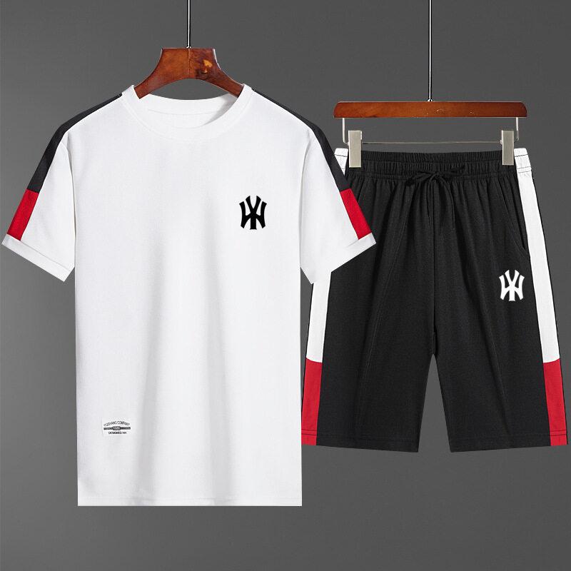12223 男士时尚印花休闲套装拼接短袖T恤短裤两件套青年学生韩版