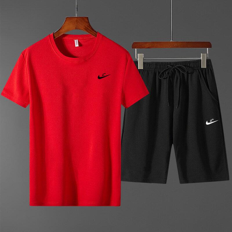 2277短袖套装男两件套夏季新款男士韩版修身印花百搭潮牌青年上衣短裤