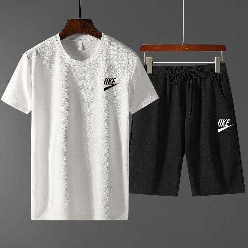 2279夏季短袖短裤运动套装两件套韩版男士印花半截袖T恤五分短裤套装