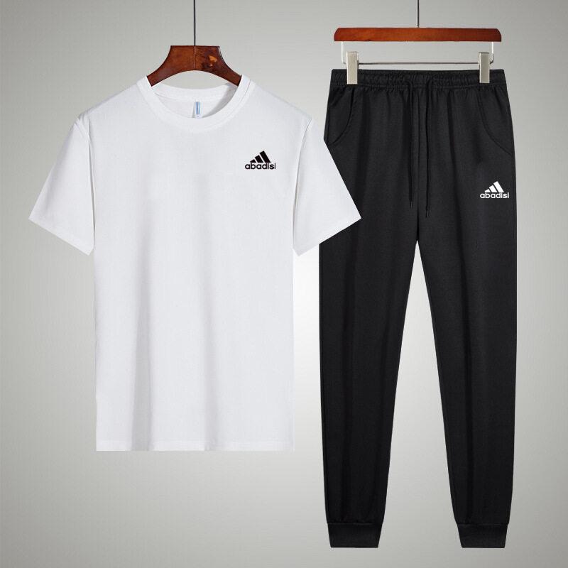 1172 接榜精梳棉短裤T恤长裤夏季休闲运动套装韩版青年半截袖T恤套