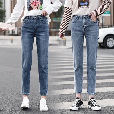 高腰弹力直筒牛仔裤女春秋季2020新款网红韩版显瘦牛仔裤女