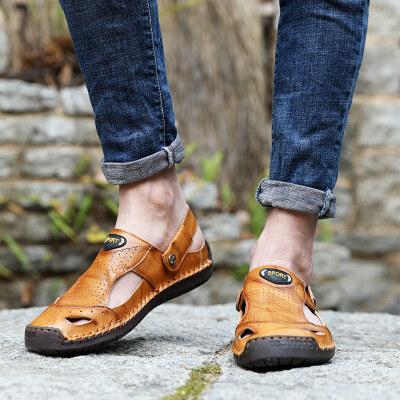 【彬步鞋业】5969 跨境大码 手工缝线沙滩凉鞋