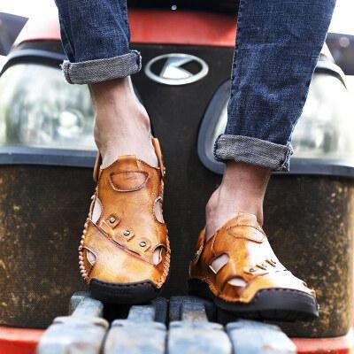【彬步鞋业】5966 跨境大码 手工缝底沙滩凉鞋