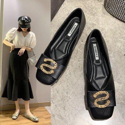 鞋子一脚蹬女鞋夏季2020新款方头奶奶鞋平底孕妇鞋软底单鞋小