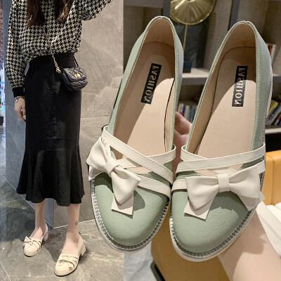 2020夏季新款单鞋女鞋中跟套脚粗跟中口PU橡胶圆头单鞋20