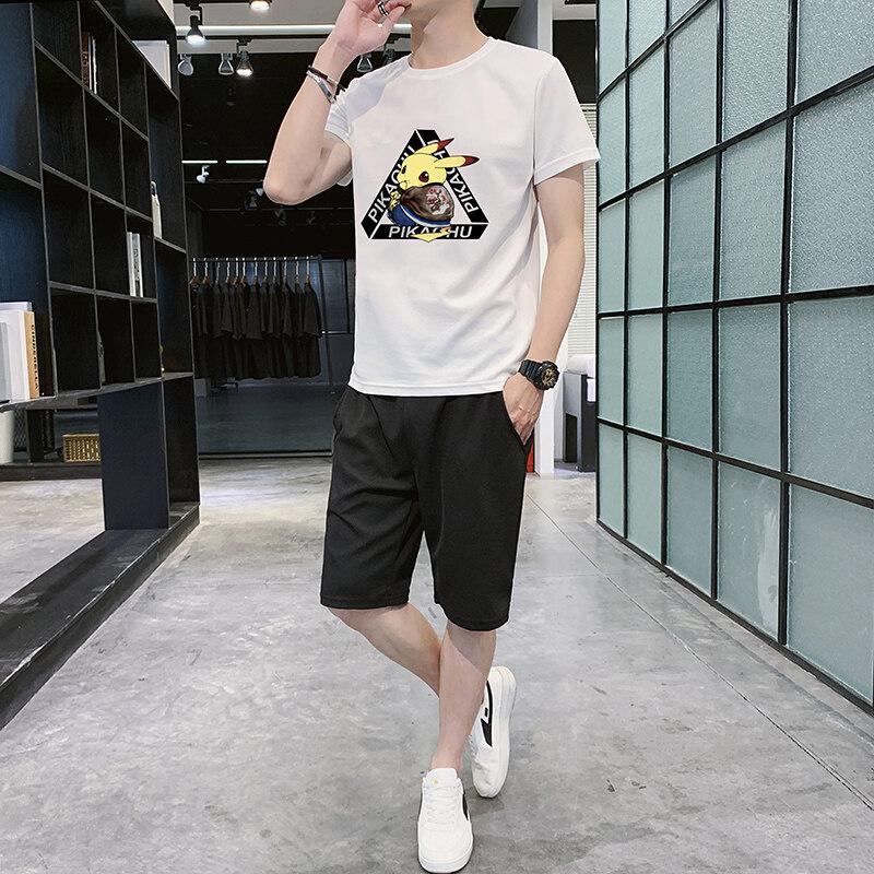 F886夏季t恤男款潮时尚休闲宽松百搭圆领青年短袖潮2020年