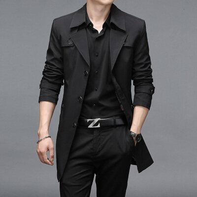 新款长款商务风衣男高品质休闲男装长款外套5色加大码9XL