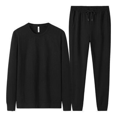 春秋季新款纯棉运动套装男士圆领长裤两件套中老年套装休闲套装