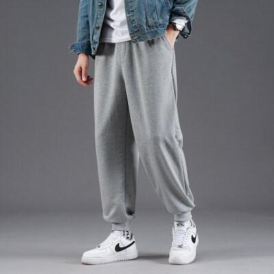 灰色运动裤男宽松裤子灯笼束脚裤夏季薄款休闲阔腿裤直筒束腿卫裤
