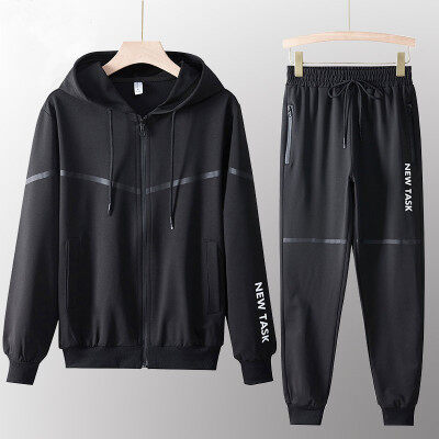 秋季连帽开衫卫衣休闲运动套装男士韩版潮流衣服男两件套