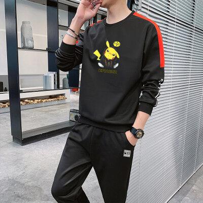 皮卡丘青少年运动套装男2020春秋新款韩版潮流男士帅气卫衣男
