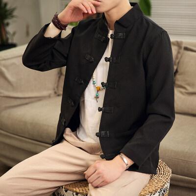 6090^原创中国风复古夹克男士立领盘扣外套中式男装休闲上衣外套