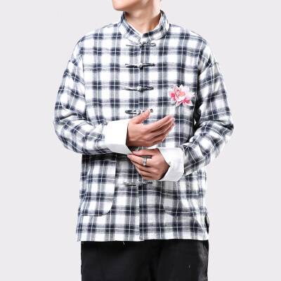 8883^秋季中国风衬衫男装男士长袖衬衣休闲立领盘扣寸衫薄款外套