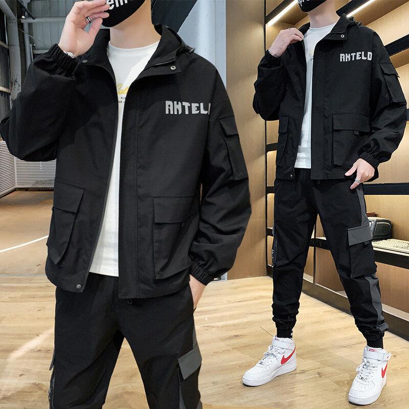 男士外套春秋2020新款韩版潮流休闲帅气一套衣服运动夹克套装