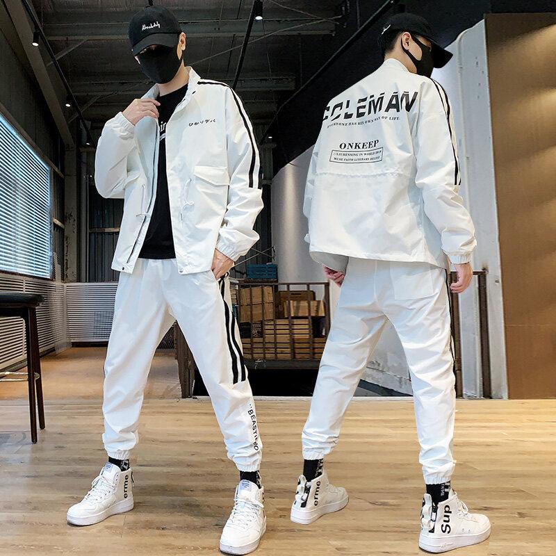 男士休闲运动套装秋季嘻哈帅气潮牌男装潮流夹克两件套装