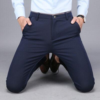 男士商务休闲西裤修身韩版潮英伦小脚裤子男免烫四面弹力弹性长裤