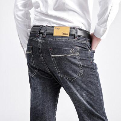 2020秋冬新款牛仔裤男宽松直筒高腰时尚休闲长裤简约商务弹力