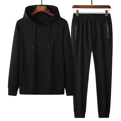 秋冬季新款纯棉运动套装男士连帽束脚长裤两件套中老年休闲套装