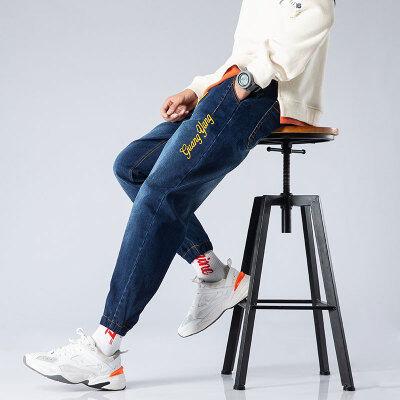 春秋潮牌牛仔裤男薄款修身小脚韩版潮流刺绣秋季男士休闲长裤