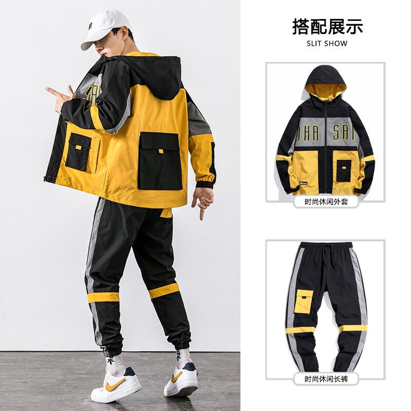 工装夹克男装春装2020新款男士休闲套装搭配一套衣服潮流帅气