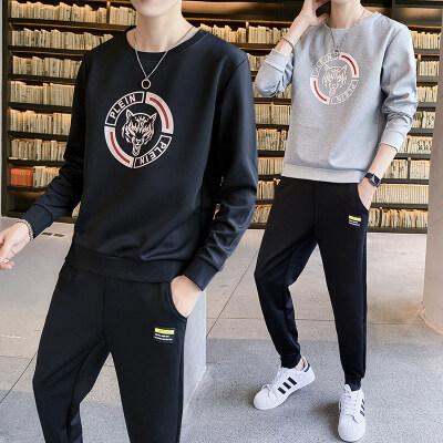 2020秋季新款长袖T恤套装男韩版潮流修身休闲卫衣长裤两件套