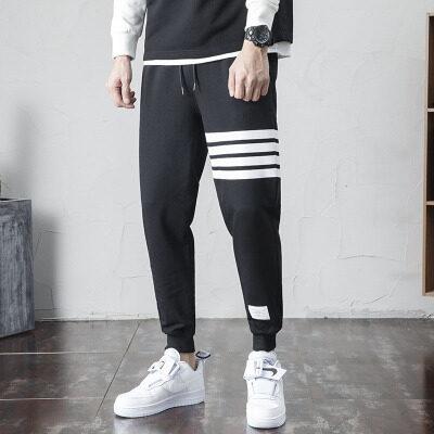 纯棉运动裤男宽松束脚秋季薄款休闲裤大码男装卫裤男士针织长裤子