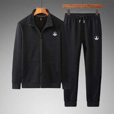 2020男士运动服中老年大码男休闲棉运动服爸爸装长袖两件套运