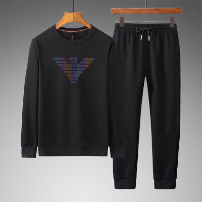 中老年男士运动服套装春秋长袖棉卫衣休闲套装跑步服装爸爸套装