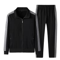 春秋季新款纯棉运动套装男士开衫立领两件套中老年套装休闲套装