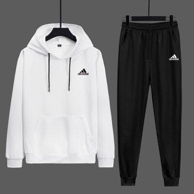 男士运动长袖套装2020秋季新款时尚印花连帽卫衣卫裤两件套潮