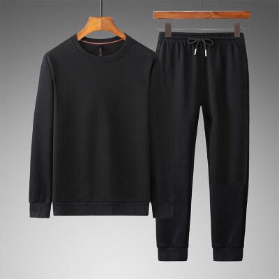 2020秋季圆领卫衣套装男针织套头新品潮流休闲运动服两件套棉