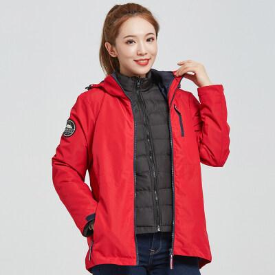 纯色女中长款冬季三合一羽绒棉冲锋衣女登山服防水透气两件套