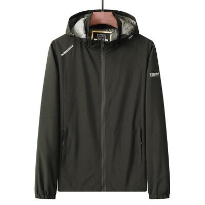 运动休闲夹克韩版修身时尚男外套春季薄款夹克运动衫大码男装上衣