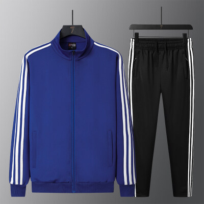 新款情侣运动套装男女春秋季立领开衫两件套三条杠运动服装