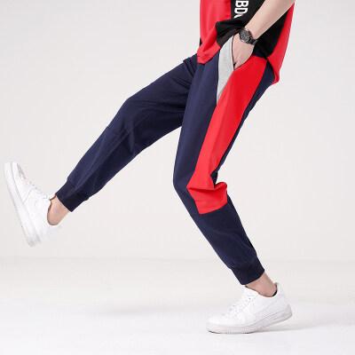 凯勒布20新款宽松休闲裤拼接束脚运动裤子