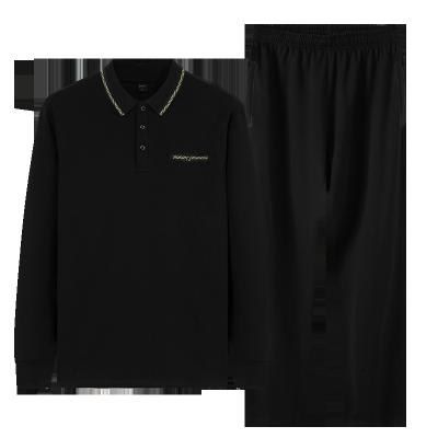 秋冬新款中老年运动套装男POLO衫棉长袖长裤休闲两件套爸爸