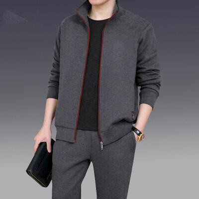 中老年男士秋冬装两件套潮流开衫休闲运动套装全套青少年上衣裤子