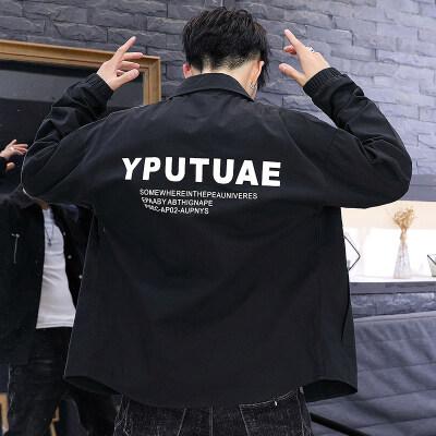 秋季男士长袖衬衫纯棉夹克工装韩版帅气潮流时尚外套