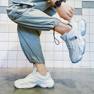 【厂家直销】男士韩版潮流运动休闲板鞋百搭网面跑步老爹鞋跨境