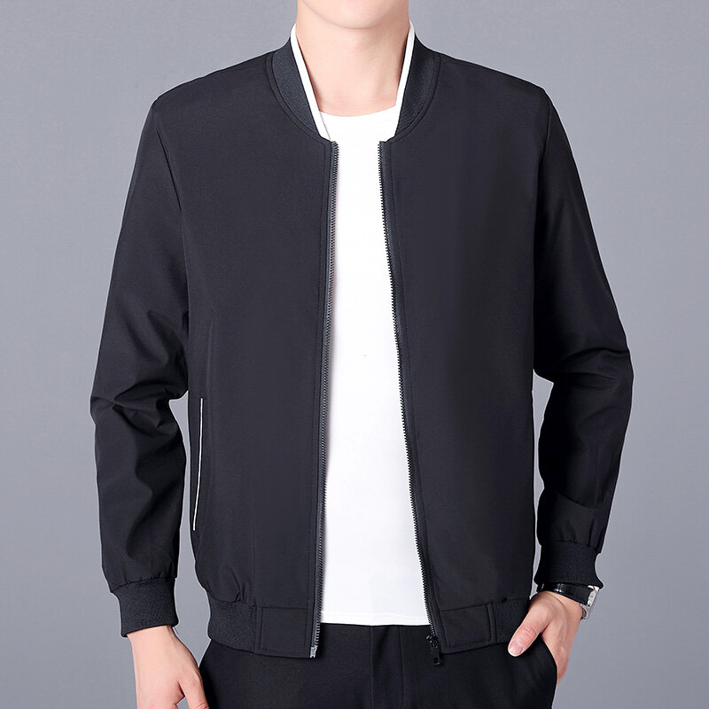 新品薄款棒球条纹领夹克衫中年男士商务外套爸爸休闲男装上衣