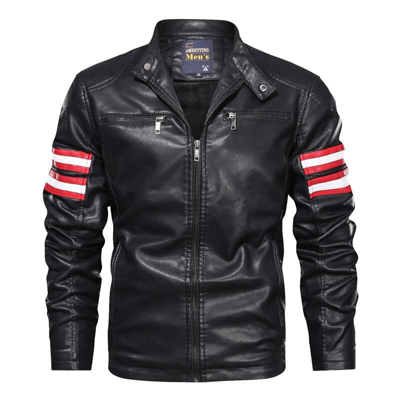 AMT9018跨境外贸拼色休闲男式皮衣 休闲潮流立领春秋皮夹克