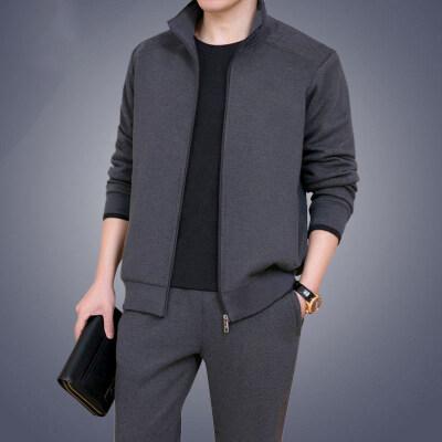 男士秋冬装两件套潮流开衫卫衣休闲运动套装男全套青少年上衣裤子