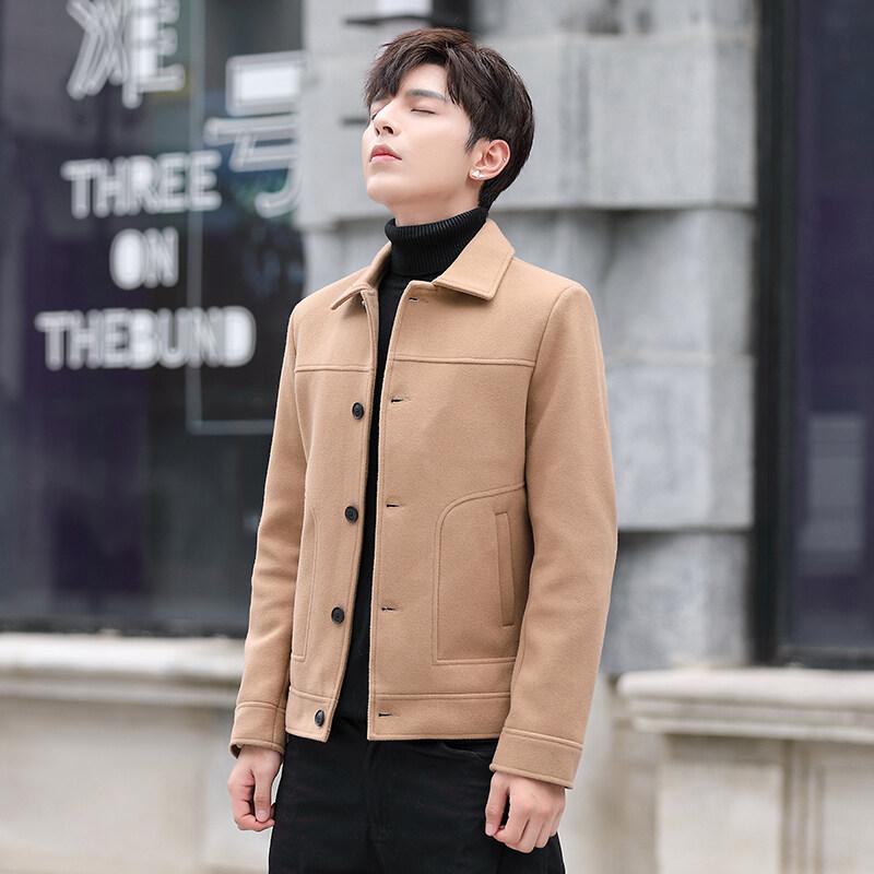 秋冬季毛呢风衣夹克男格子衬衫呢子大衣外套