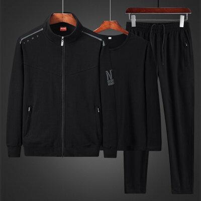 中老年运动套装2020新款秋冬爸爸中年男休闲三件套L-5XL