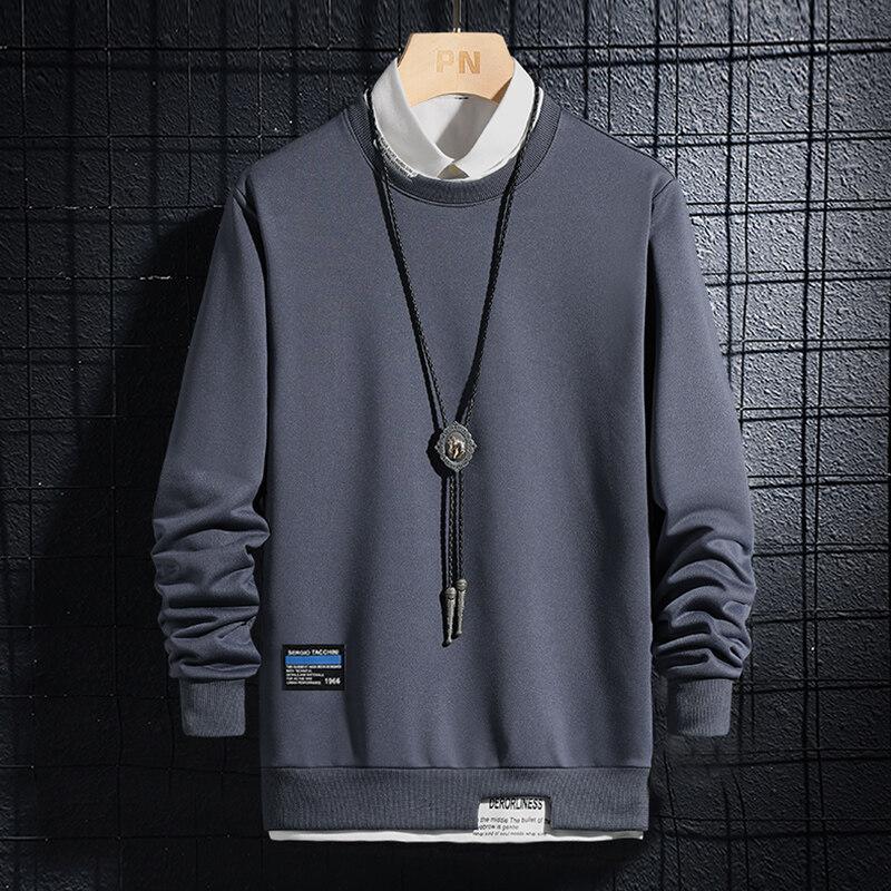 6773卫衣2020新款秋冬假两件男士卫衣潮版青少年圆领上衣学生打底衫